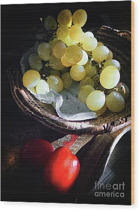 Wood Print featuring the photograph Grapes And Tomatoes by Silvia Ganora