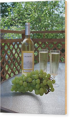 Grapes And Wine Wood Print