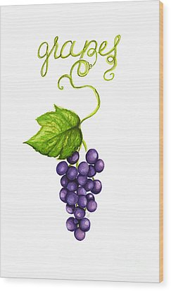 Wood Print featuring the painting Grapes by Cindy Garber Iverson
