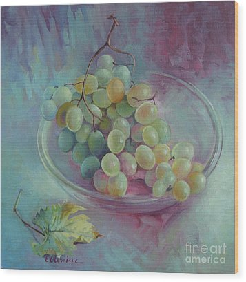 Grapes Wood Print by Elena Oleniuc