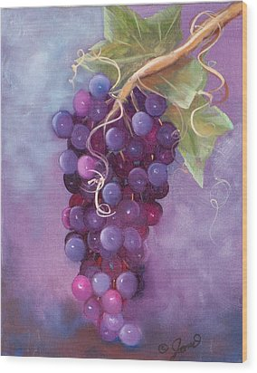 Grapes Wood Print by Joni McPherson
