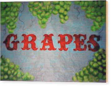 Grapes Wood Print by Lisa Stanley