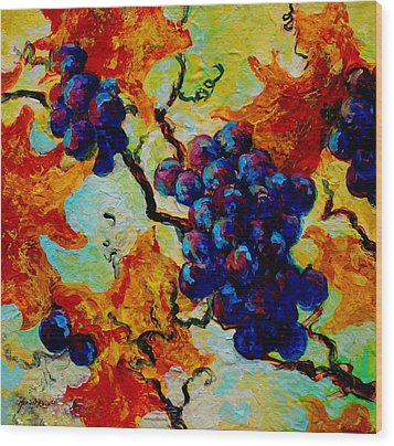 Grapes Mini Wood Print by Marion Rose