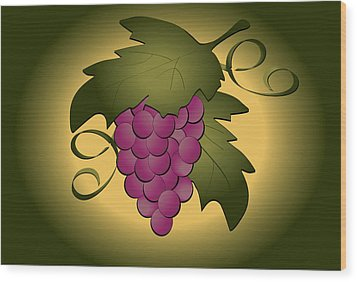 Grapes Wood Print by Pam Beal