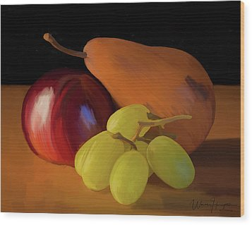 Grapes Plum And Pear 01 Wood Print by Wally Hampton