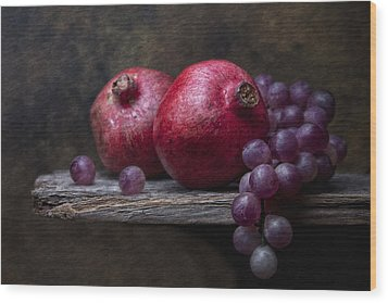 Grapes With Pomegranates Wood Print
