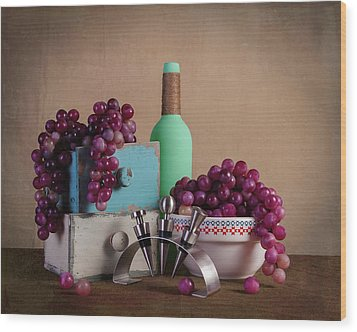 Grapes With Wine Stoppers Wood Print by Tom Mc Nemar