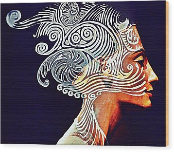 Graphism For Nefertiti Wood Print by Paulo Zerbato