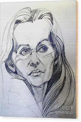 Wood Print featuring the drawing Graphite Portrait Sketch Of A Woman With Glasses by Greta Corens