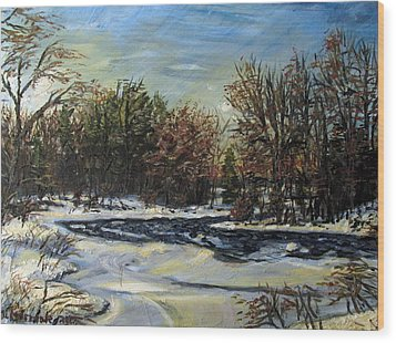Grasse River In January Wood Print by Denny Morreale