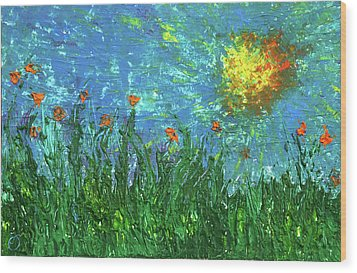 Grassland With Orange Flowers Wood Print by Erik Tanghe