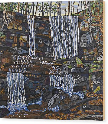 Grassy Creek Falls Wood Print by Micah Mullen