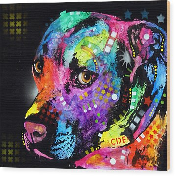 Gratitude Pitbull Wood Print by Dean Russo