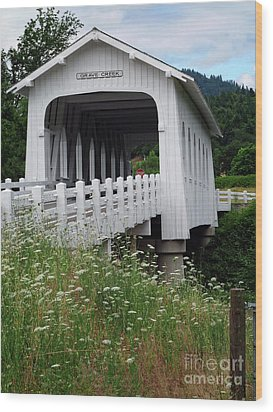 Grave Creek Bridge Wood Print by Methune Hively