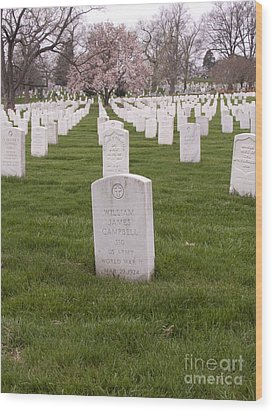 Grave Markers In Arlington National Cemetery Wood Print by Tim Grams