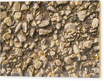 Gravel Stones On A Wall Wood Print by John Williams
