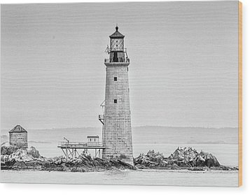 Graves Lighthouse- Boston, Ma - Black And White Wood Print
