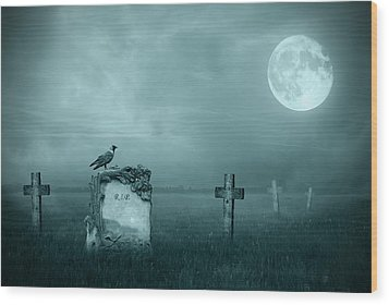 Gravestones In Moonlight Wood Print by Jaroslaw Grudzinski