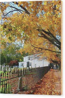 Graveyard In Autumn Wood Print by Susan Savad
