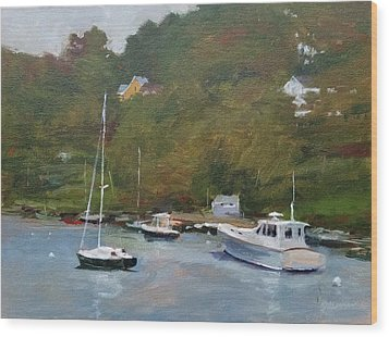 Gray Afternoon At Rockport Harbor Wood Print by Peter Salwen