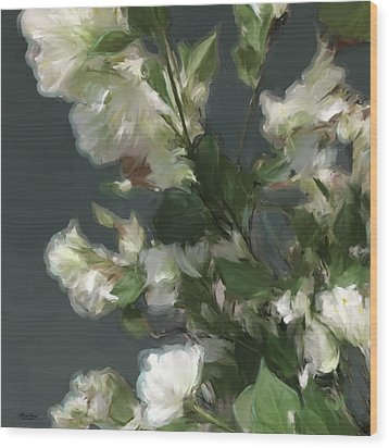 Gray Floral 09 Wood Print