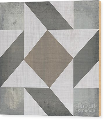 Wood Print featuring the painting Gray Quilt by Debbie DeWitt