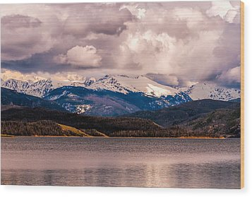 Gray Skies Over Lake Granby Wood Print by Tom Potter