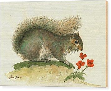 Gray Squirrel Flowers Wood Print