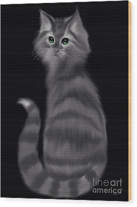 Wood Print featuring the painting Gray Striped Cat by Nick Gustafson