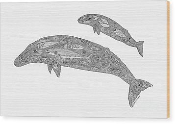 Gray Whale And Calf Wood Print by Carol Lynne