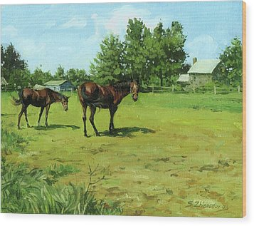 Grazing Horses Wood Print