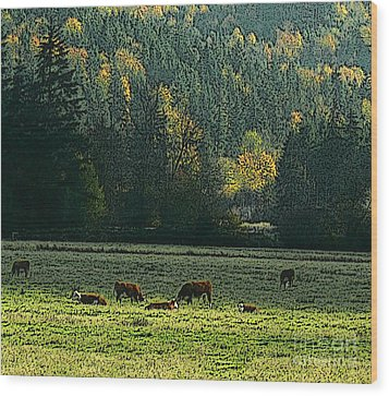 Wood Print featuring the digital art Grazing In The Skokomish Valley by Terri Thompson