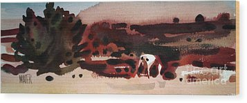 Grazing Pinto Wood Print by Donald Maier