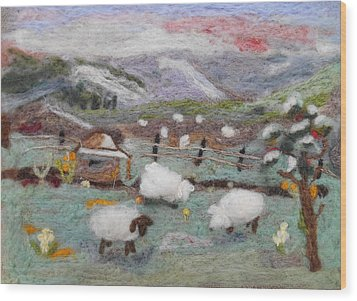 Grazing Woolies Wood Print by Christine Lathrop