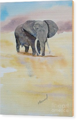 Wood Print featuring the painting Great African Elephant  by Vicki  Housel