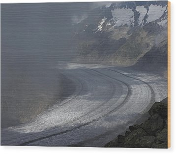 Great Aletsch Glacier In The Clouds. Canton Of Valais, Switzerland. Wood Print