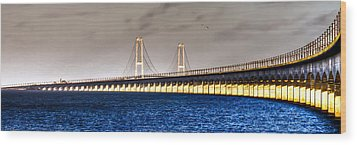 Wood Print featuring the photograph Great Belt Bridge by Gert Lavsen