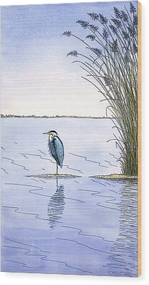 Great Blue Heron Wood Print by Charles Harden