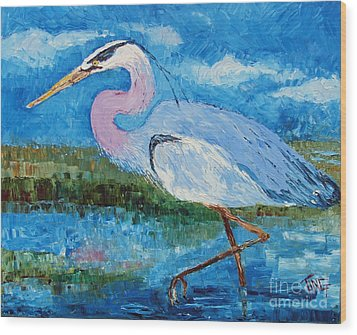 Great Blue Heron Wood Print by Doris Blessington