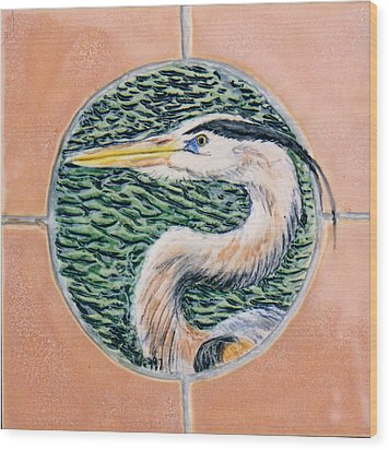 Great Blue Heron Wood Print by Dy Witt