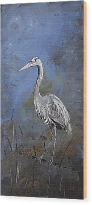 Great Blue Heron In Blue Wood Print by Carolyn Doe