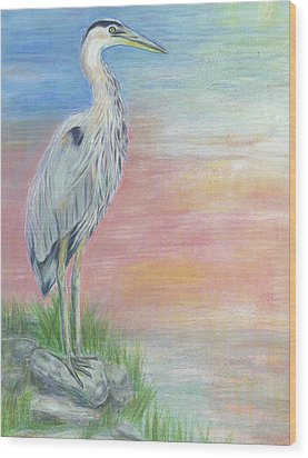 Great Blue Heron  Wood Print by Jeanne Kay Juhos