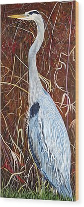 Great Blue Heron Wood Print by Marilyn  McNish