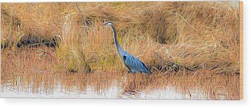 Great Blue Heron Wood Print by Marion Johnson