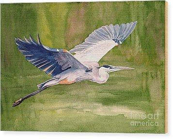 Great Blue Heron Wood Print by Pauline Ross