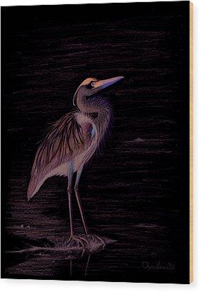 Great Blue Heron Wood Print