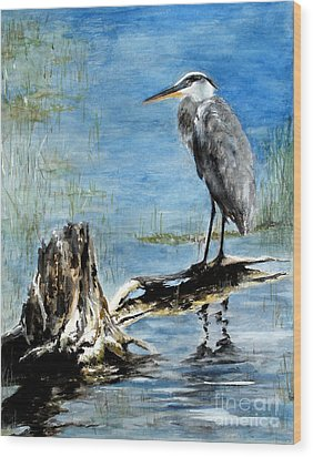 Great Blue Heron  Wood Print by Sibby S