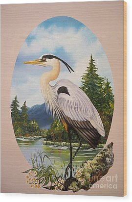 Wood Print featuring the painting Great Blue Heron by Sigrid Tune