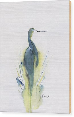 Blue Heron Turning Wood Print