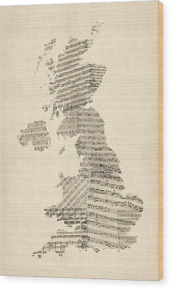 Great Britain Uk Old Sheet Music Map Wood Print by Michael Tompsett